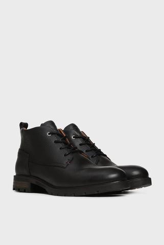 Мужские черные кожаные ботинки с мехом Tommy Hilfiger