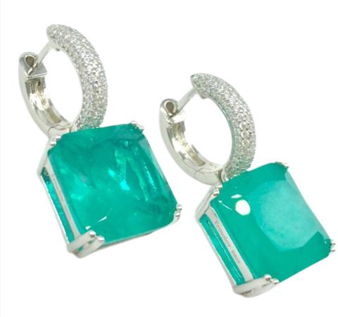 47458- Серьги серебряные с квадратными подвесками из кварца цвета парабаиба