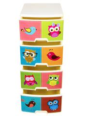 Комод с рисунком №14 Птички совы 4-х секционный светло-бежевый из пластика Эльфпласт 40х50х96 см