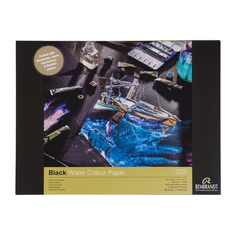 Альбом для акварели Rembrandt 360 г/м2 30*40см черные листы 10л склейка