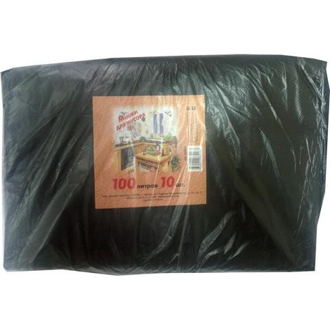Мешки для мусора на 100 литров черные (50 мкм, в пачке 10 штук, 70x110 см)