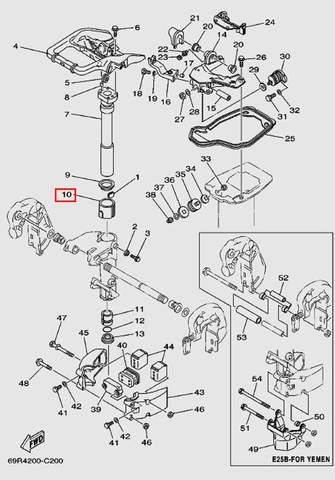 Втулка вала дейдвуда верхняя для лодочного мотора Т30 Sea-PRO (15-10)