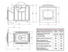 Печь Калита (Дверка - чугунная, с панорамным стеклом, облицовка - змеевик)