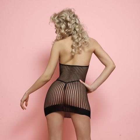 Мини-платье в мелкую тройную сетку