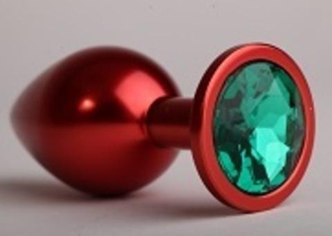 Анальная пробка металл красная с зеленым стразом 7,6х2,8см 47414-6MM