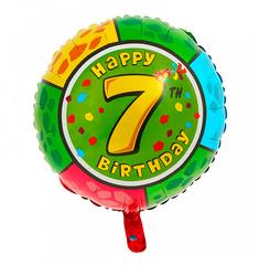 Шар-круг Happy Birthday с цифра 7