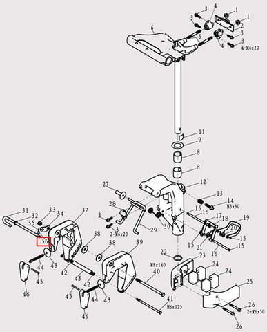 Флажок штыря деферента для лодочного мотора F9.8 Sea-PRO (13-36)