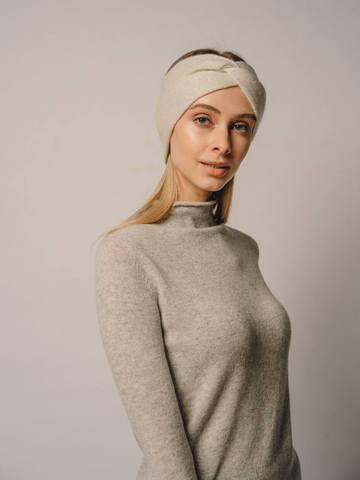 Женская повязка на голову молочного цвета из кашемира - фото 3