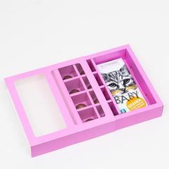 Коробка под 8 конфет + шоколад, с окном, сиреневая, 17,7 х 17,85 х 3,85 см