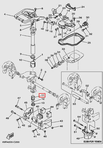 Втулка вала дейдвуда нижняя для лодочного мотора Т30 Sea-PRO (15-11)