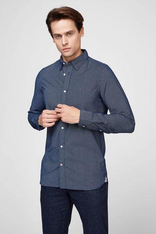 Мужская синяя рубашка SLIM CORDUROY MINI GEO PRT Tommy Hilfiger
