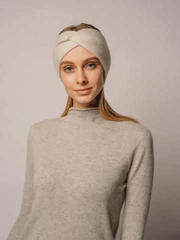 Женская повязка на голову молочного цвета из кашемира - фото 5