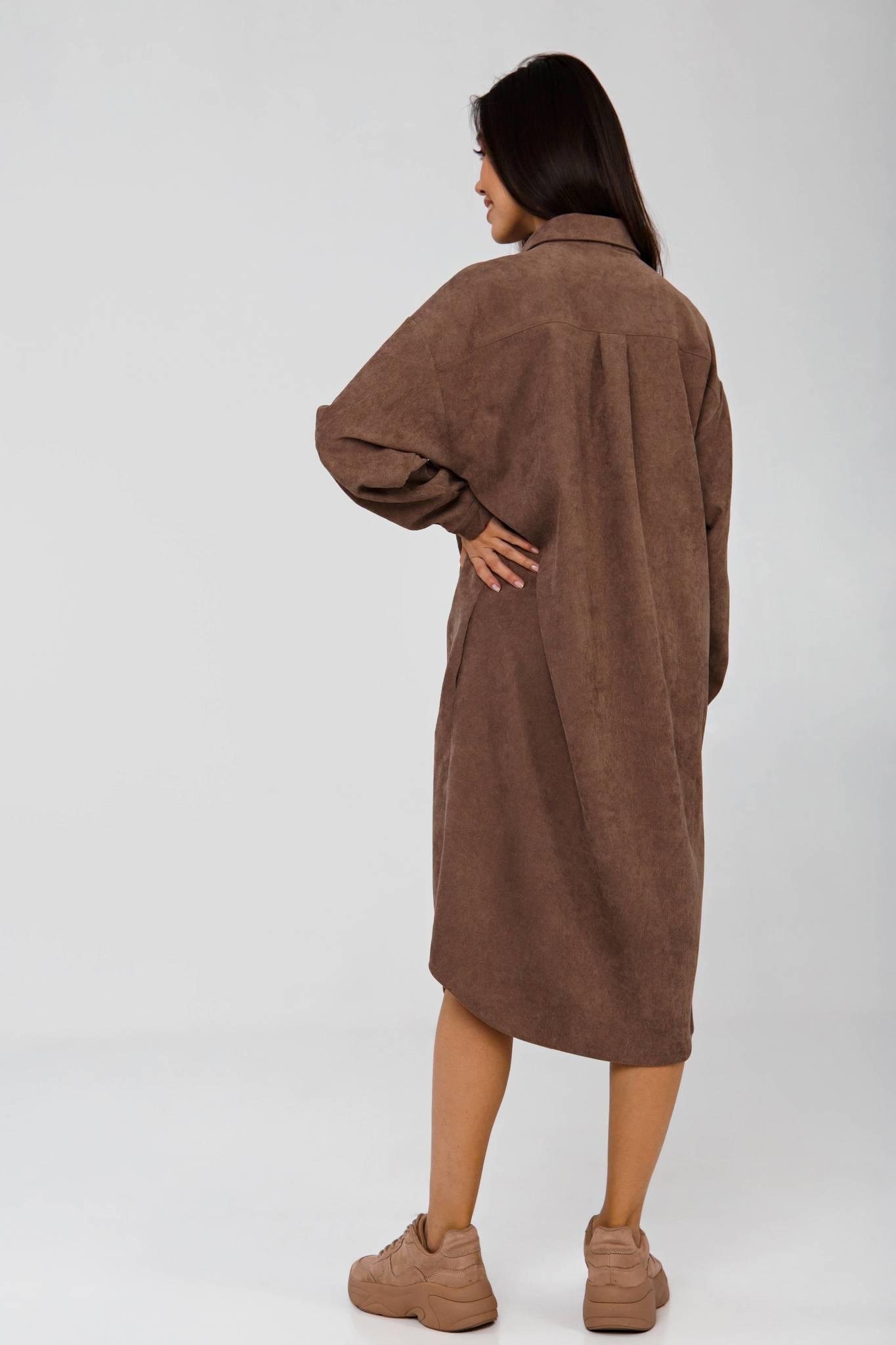 Платье-рубашка коричневое из вельвета в рубчик YOS от украинского бренда Your Own Style