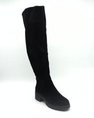 Ботфорты зима черного цвета.Натуральный велюр