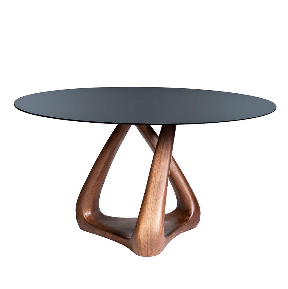 Стол обеденный 77IP-DT643 со стеклом круглый d140*77,6см