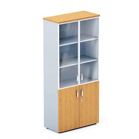 Шкаф высокий с глухими и стеклянными дверцами в раме БОСТОН