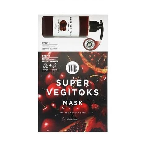 Осветляющая 2-х ступенчатая детокс-система Chosungah By Vibes Wonder Bath Super Vegitoks Mask Red