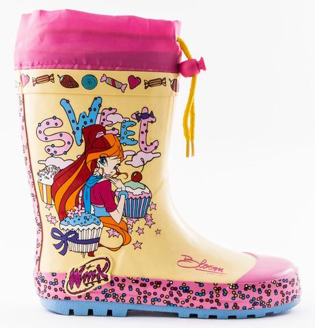 Резиновые сапоги Винкс (Winx) утепленные на шнурках для девочек, цвет желтый розовый. Изображение 1 из 8.