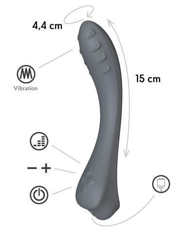 Темно-серый вибратор для G-точки Apus - 19 см.