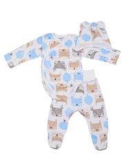 Mini Fox. Комплект для новорожденных швами наружу 3 предмета, голубые белки
