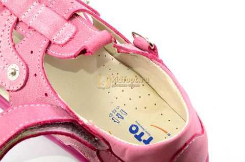 Босоножки Тотто из натуральной кожи с закрытым носом для девочек, цвет розовый. Изображение 12 из 12.