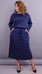 Леся. Оригінальна сукня для пишних жінок. Синій.