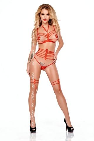 Комплект с эротическими аксессуарами из ремешков Pati красный