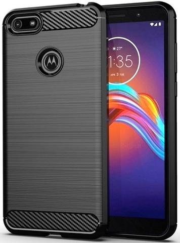 Чехол для Motorola Moto E6 play цвет Black (черный), серия Carbon от Caseport