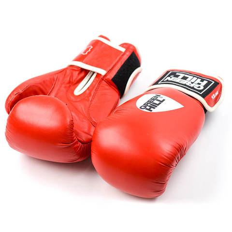 Перчатки боксерские, кожа, GYM BGG-2018, Green Hill красные