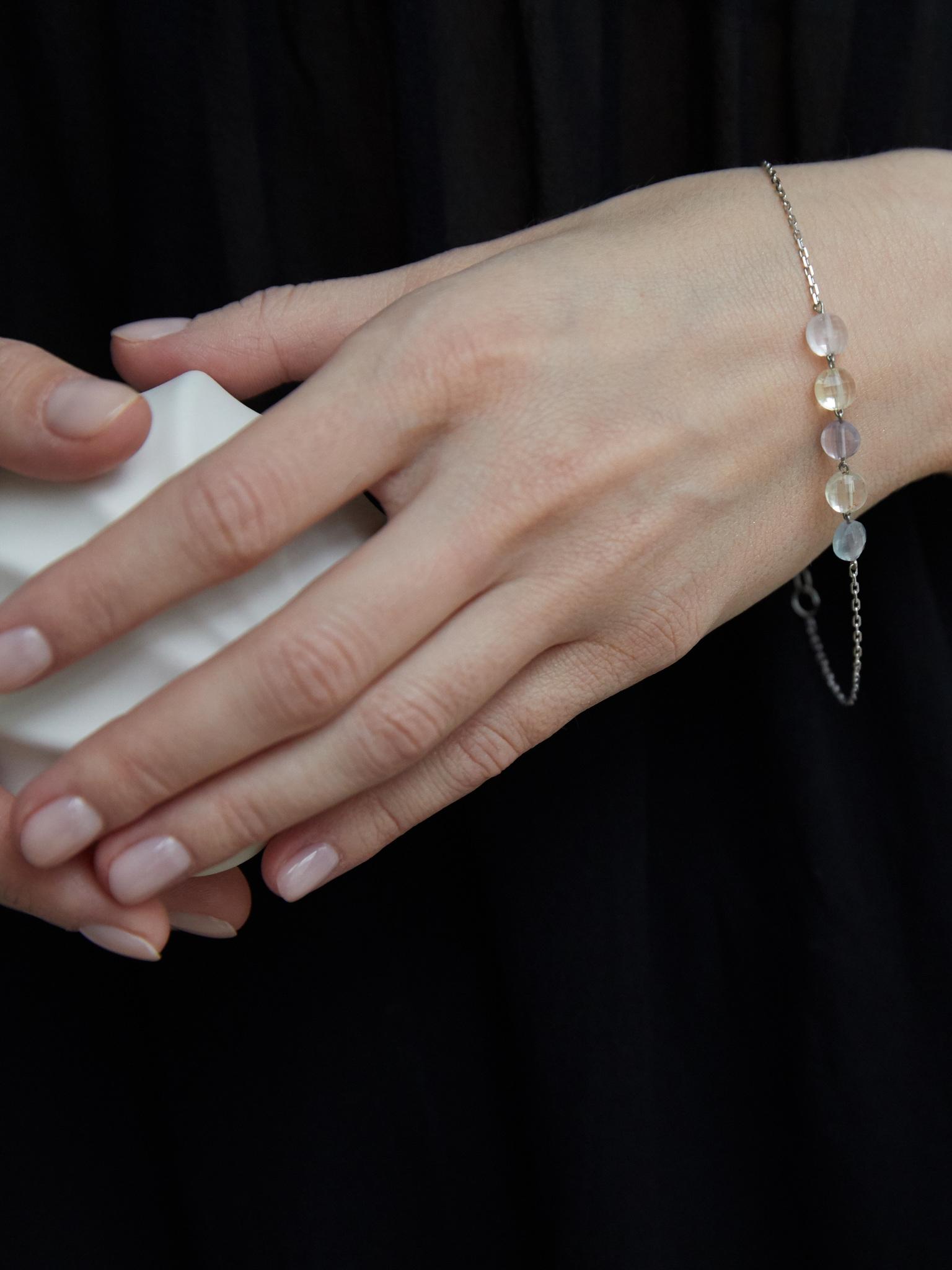 Серебряный браслет с флюоритом