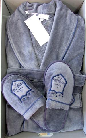 Комплект мужской велюровый халат с тапками Boswell Maison Dor серый