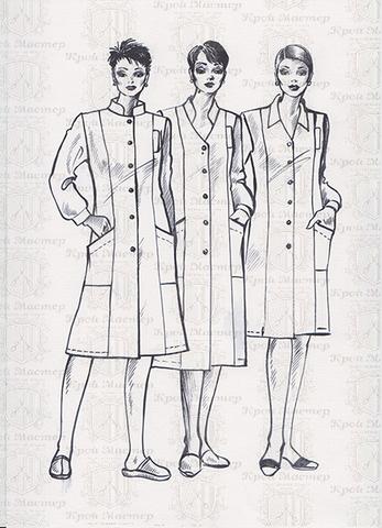 Выкройка медицинского халата 3 в одном