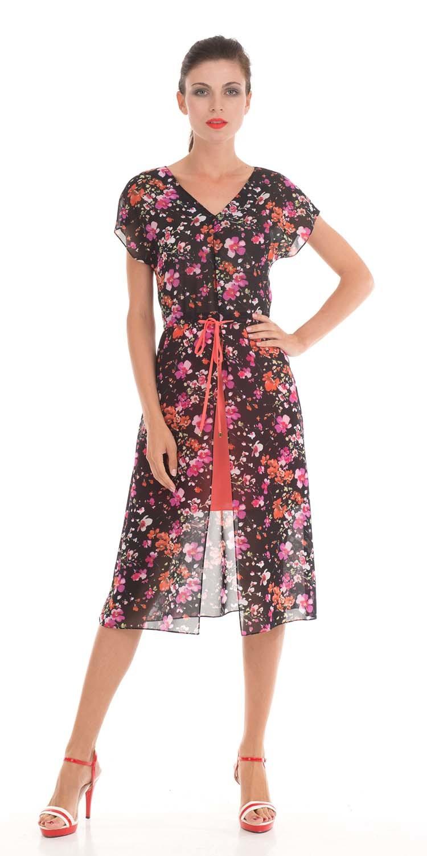 Платье З799-378 - Многослойное, легкое платье с цветочным принтом сделает ваш образ максимально женственным.Модель из вискозы состоит из полупрозрачного платья ниже колен и ярко-красной юбки. V-образные вырез подчеркивает очаровательный изгиб шеи. Полупрозрачная ткань открывает ноги и делает образ волнующим и загадочным. Красный пояс в цвет юбки делает акцент на тонкую талию, а красная юбка скрывает бедра.Нежная и женственная модель идеально подойдёт для прогулок летом в жаркую погоду.