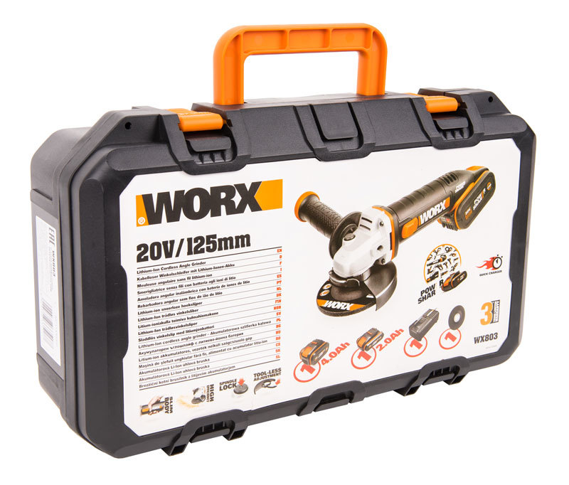 Угловая шлифмашина аккумуляторная WORX WX803 20В