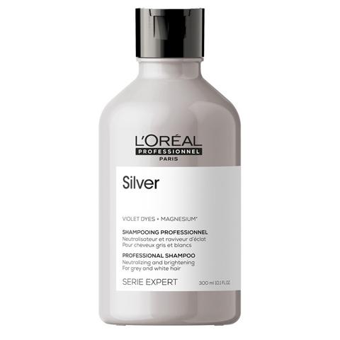 L'Oreal Professionnel Silver: Шампунь для нейтрализации желтизны седых волос (Silver Shampoo), 300мл/1500мл