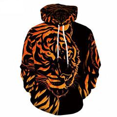 Толстовка утепленная  3D принт, Тигр (3Д Теплые Худи Tiger) 04