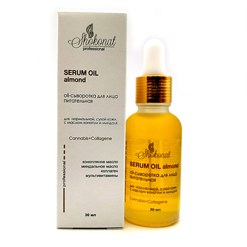 Oil-сыворотка для лица питательная для нормальной, сухой кожи, с маслом конопли и миндаля Cannabis+Collagene Шоконат