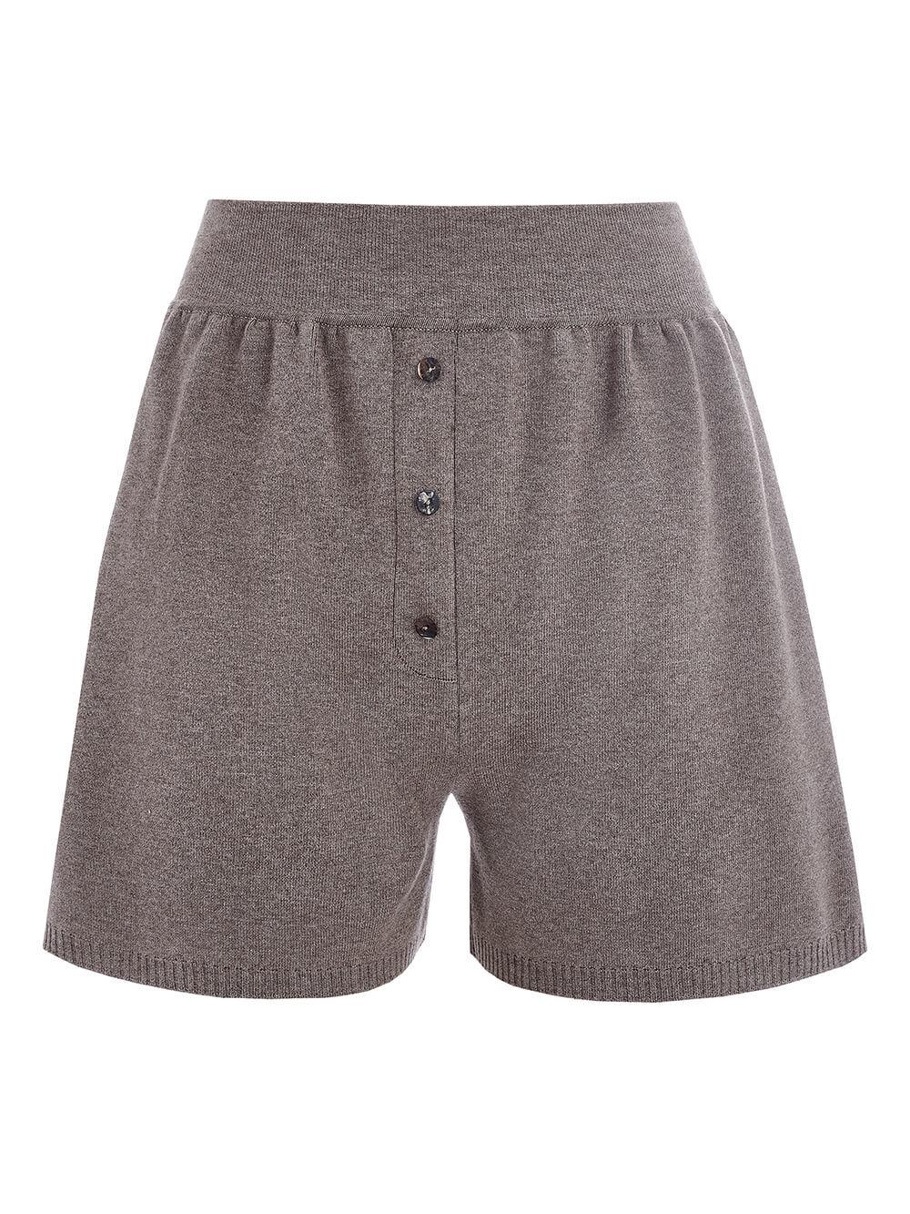 Женские шорты темно-кофейного цвета из вискозы - фото 1