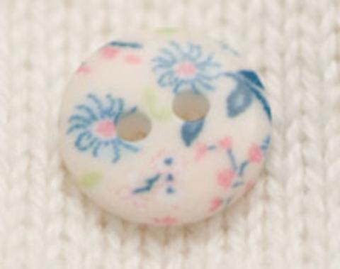 Пуговица с цветочным орнаментом, с голубыми цветами, в пастельных тонах, плоская, 12 мм