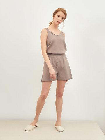 Женские шорты темно-кофейного цвета из вискозы - фото 2
