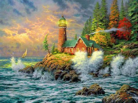 Алмазная Мозаика 40x50 Дом с маяком на острове