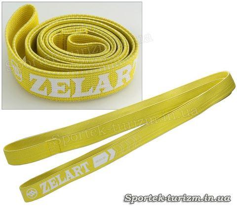 Фитнес-резинка тканевая лента сопротивления Zelart (Жесткость M, желтая)