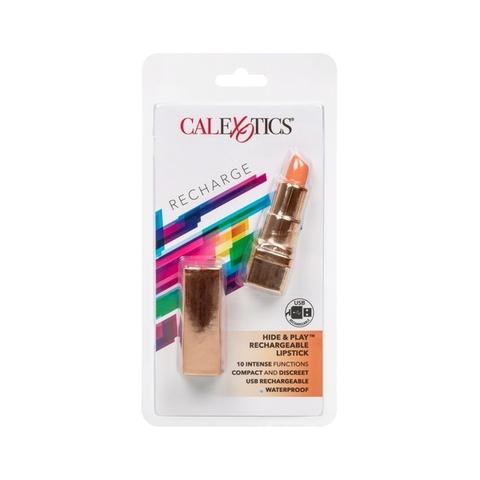 California Hide & Play Lipstick Rechargeable Коралловый Перезарежаемый миниатюрный вибромассажер в виде помады