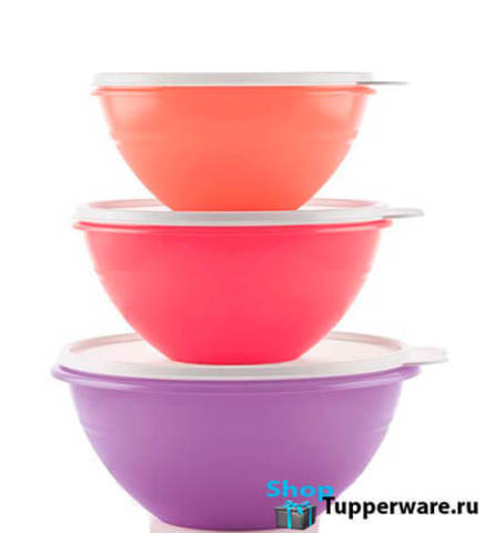 Набор чаш Брауни (775мл / 1 л / 1,75 л) разноцветные
