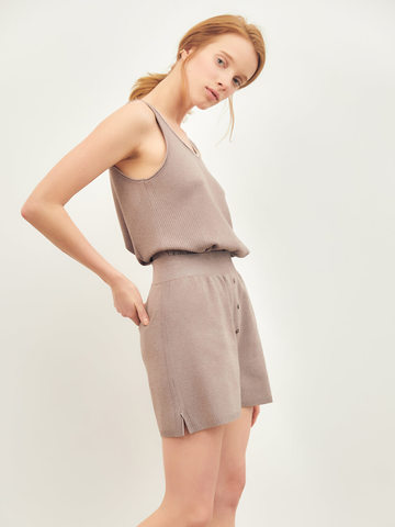 Женские шорты темно-кофейного цвета из вискозы - фото 4