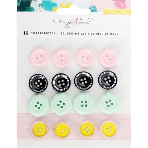 Набор пуговиц Vintage Buttons - коллекция Chasing Dreams Maggie Holmes от Crate Paper 16шт.