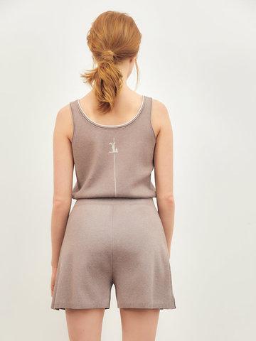 Женские шорты темно-кофейного цвета из вискозы - фото 3