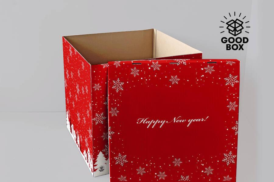 Большая новогодняя коробка для шаров Алматы