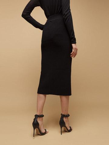 Женская юбка черного цвета из шерсти - фото 6