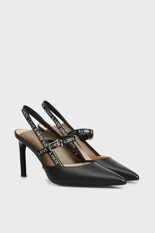 Женские черные кожаные слингбеки Marselina PRPY